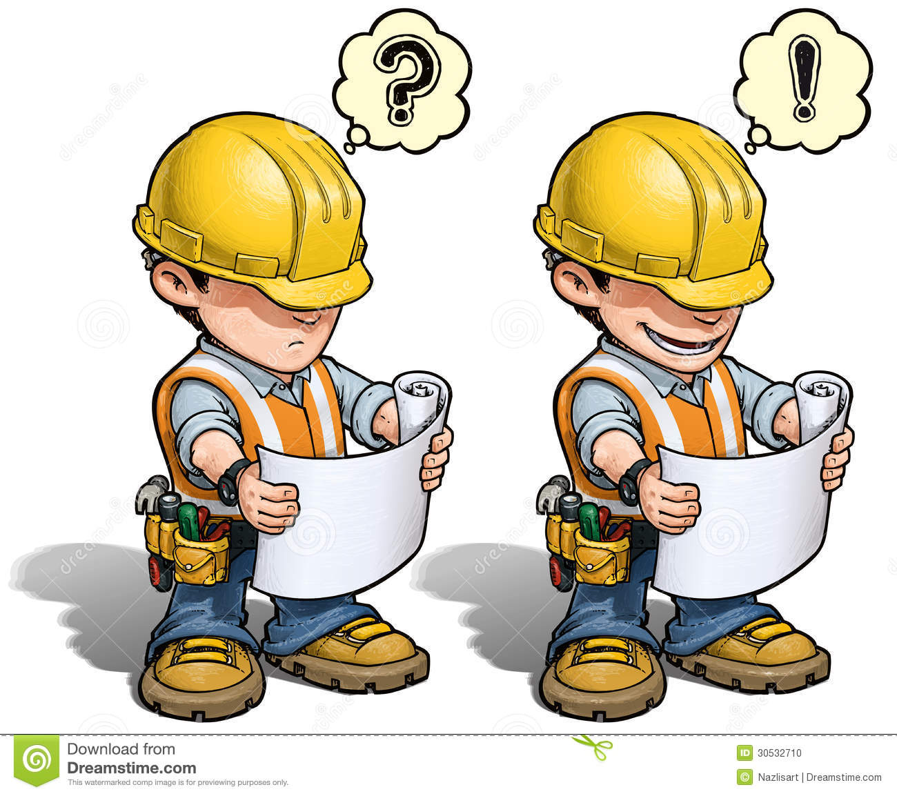 Construction worker reading plan stock vector illustration of download comp malvernweather Images