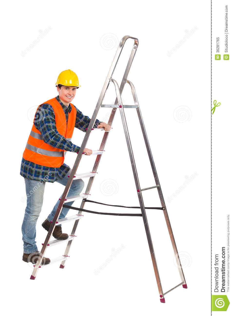 Construction Worker In Reflective Clothing Climbing A Ladder ... for Worker Climbing Ladder  285eri