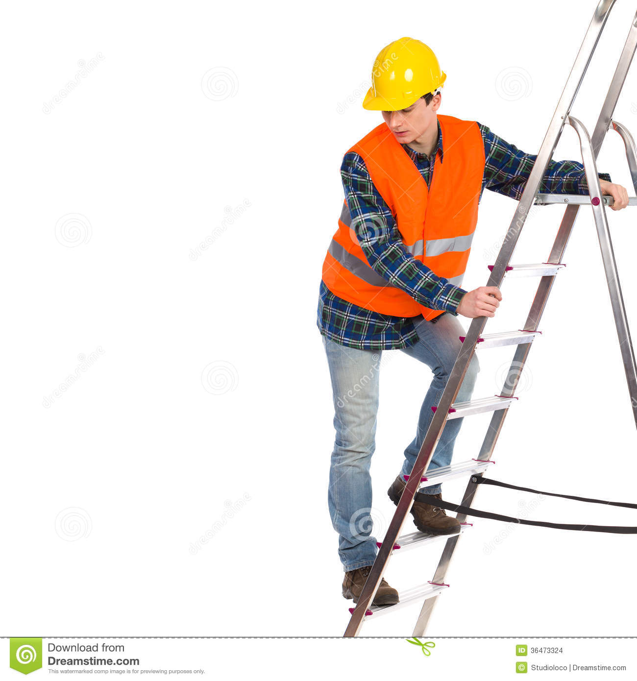 Construction Worker In Reflective Clothing Climbing A Ladder ... for Worker Climbing Ladder  83fiz