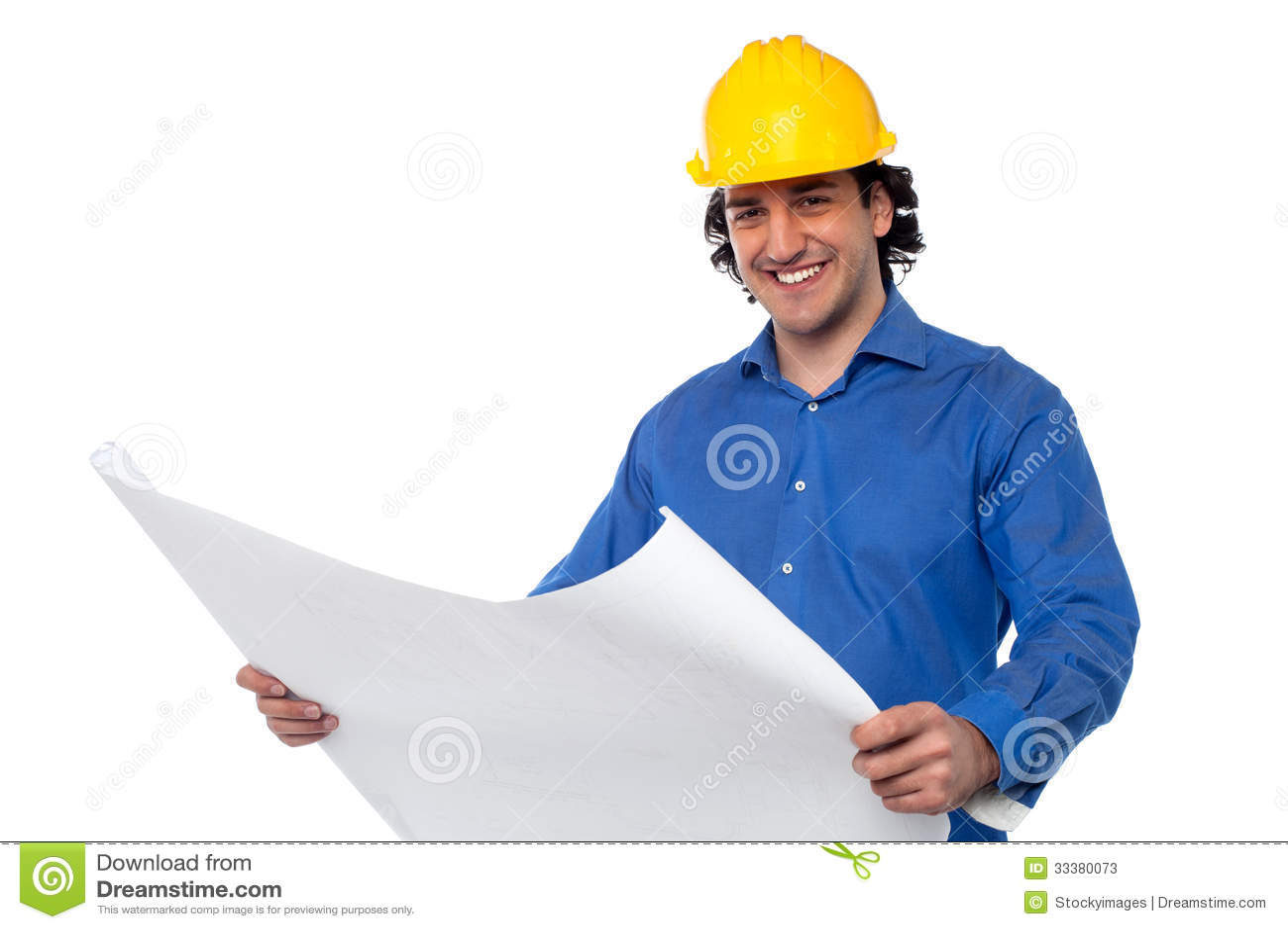 Construction Worker Reviewing Blueprint Stock Photos