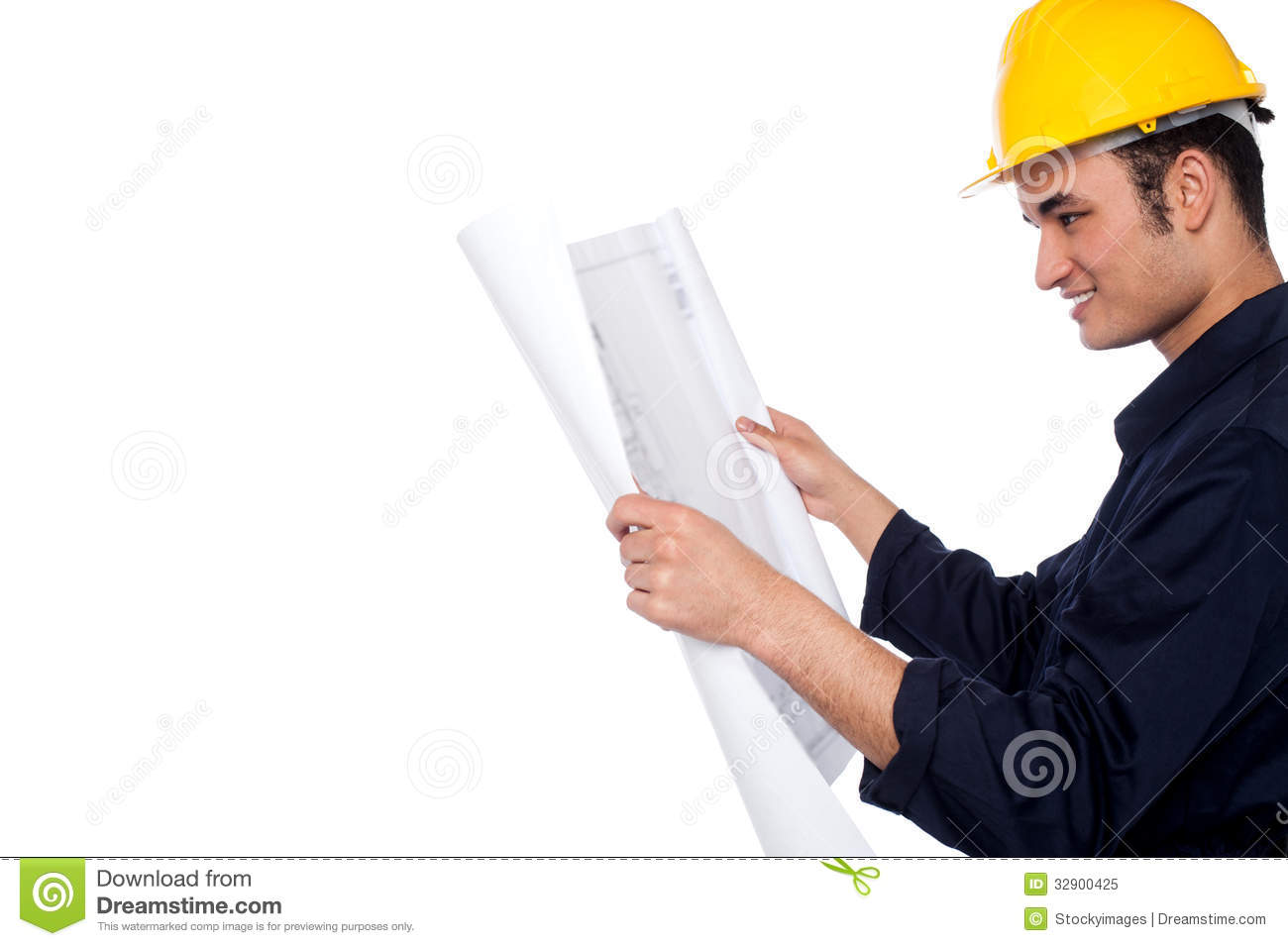 Construction worker reviewing plan royalty free stock for My contractor plan