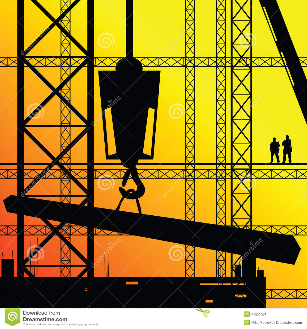 Construction worker supervise the work stock vector for Sunshine construction