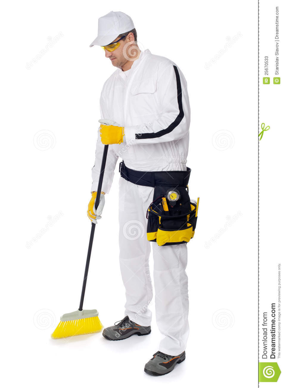 Construction Worker In White Overalls Sweeping Cleaning Hygiene With A