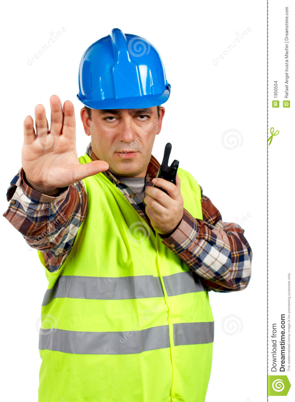 Construction Worker Talking With A Walkie Talkie And ...