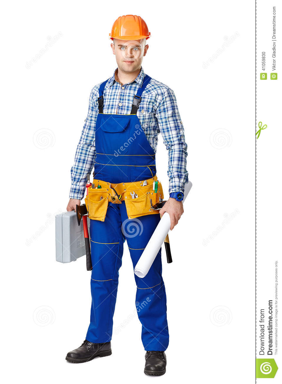 Full length portrait of young male construction worker with toolbox ...