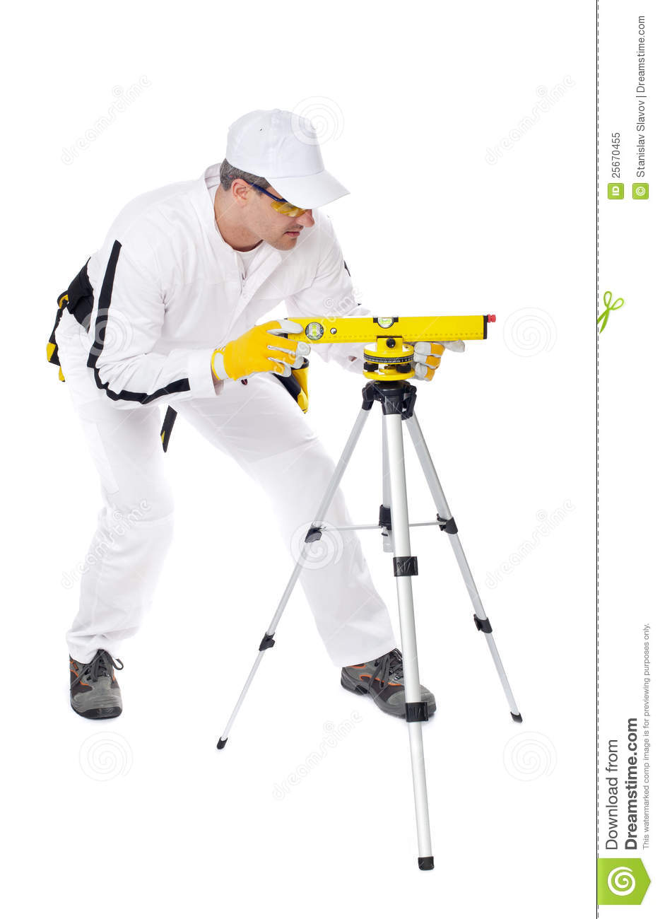Construction Worker In White Coveralls Level Tool Royalty
