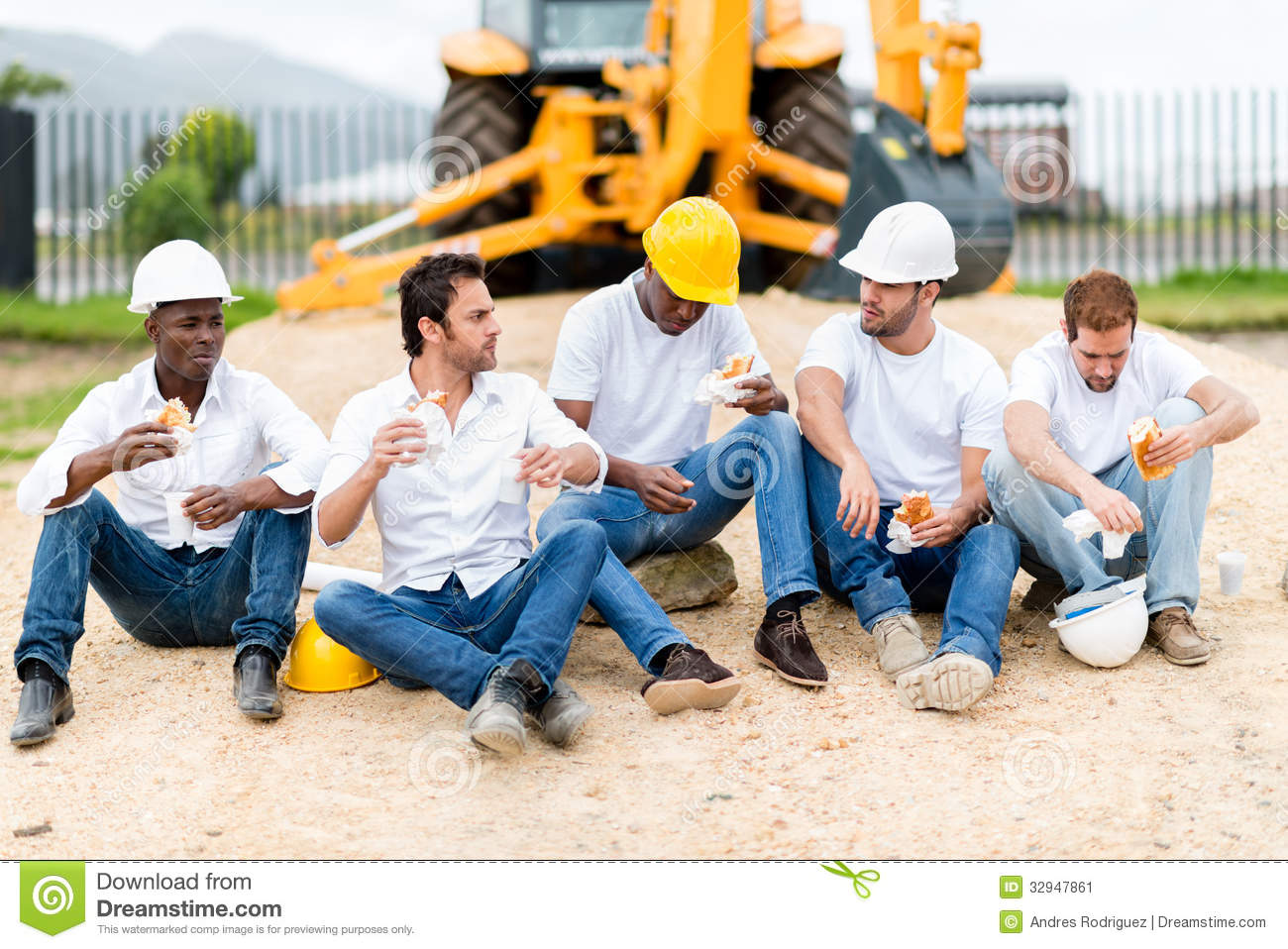 Construction Site Break Room : Construction workers on a break stock image