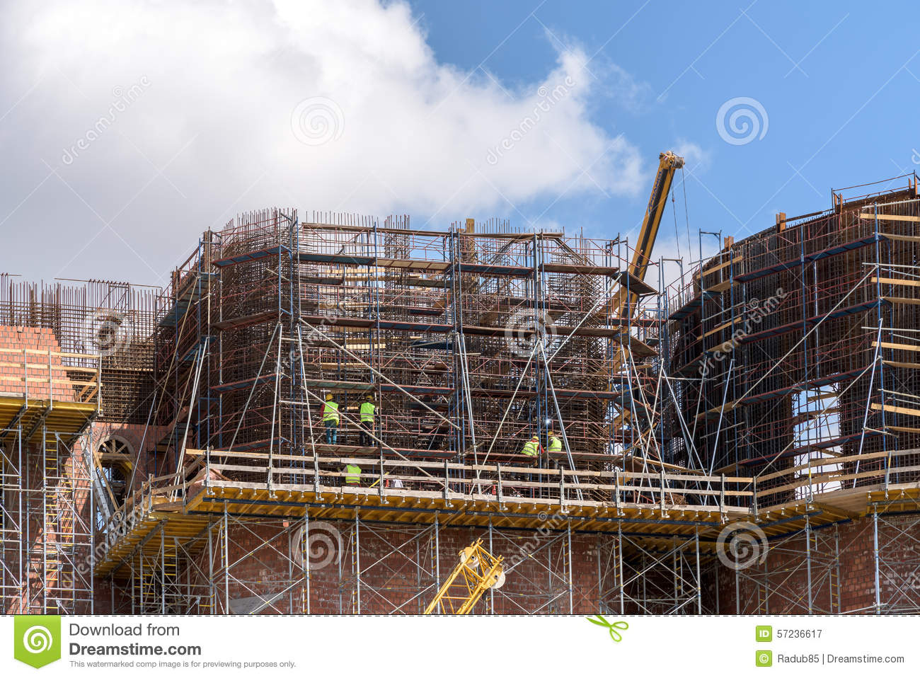 Construction workers on building construction site stock for Images of building sites