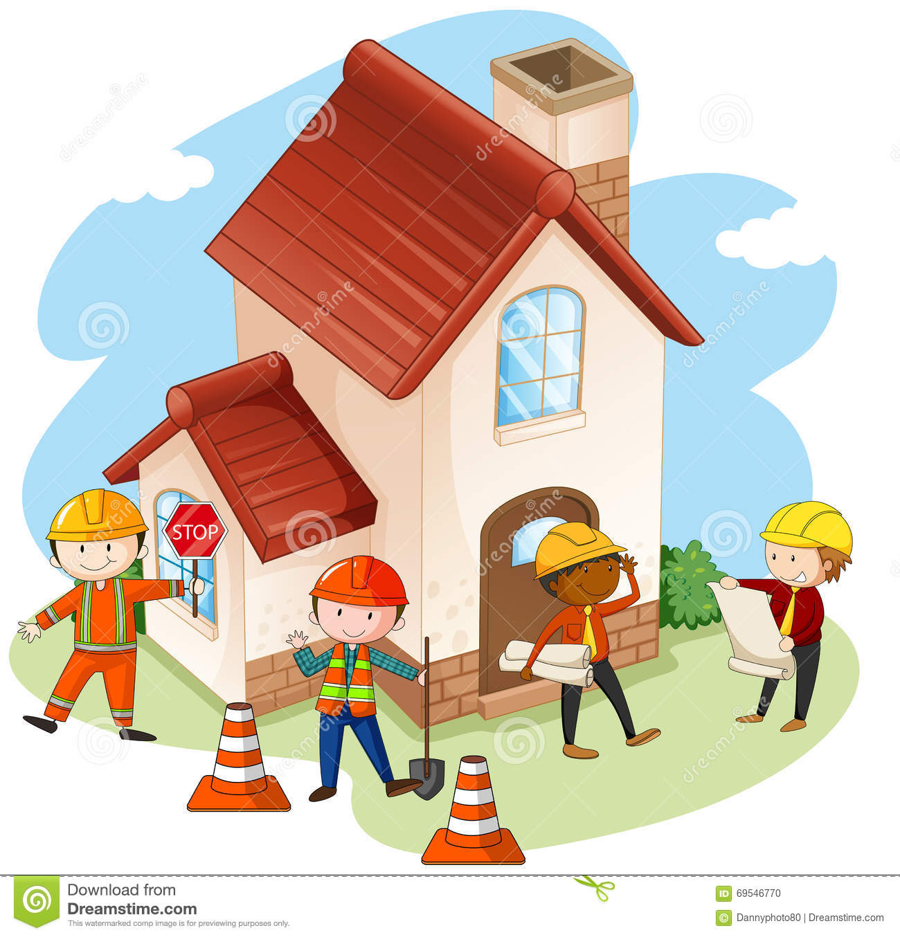 Construction workers building house stock vector for Free home builder