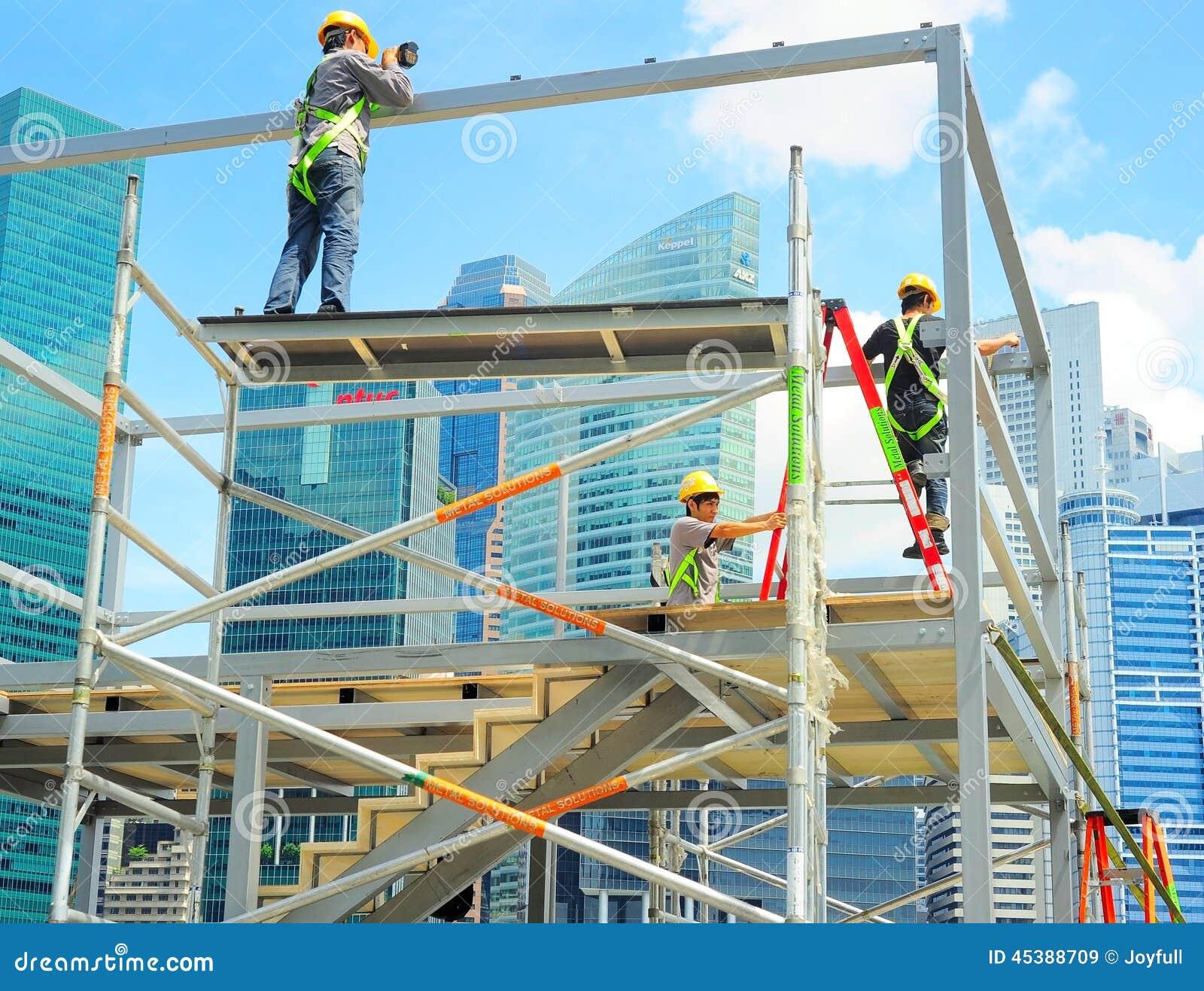 Peddinghaus Industry Singapore: Construction Workers, Singapore Editorial Stock Image