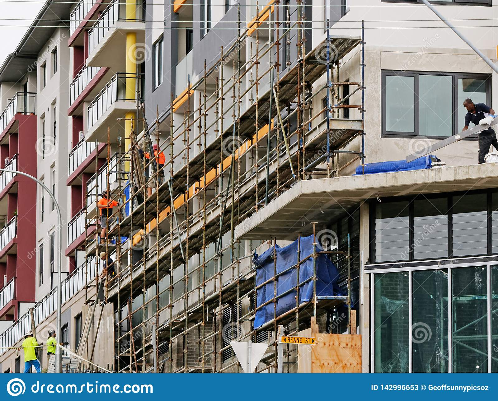 Construction Workers on site at 47 Beane St. Gosford. March, 2019. Building update ed224