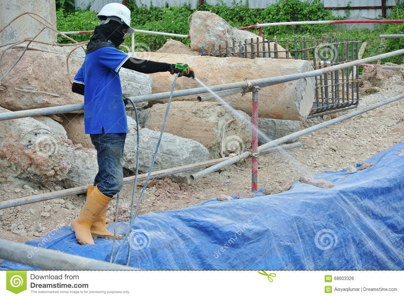 Construction Workers Spraying The Anti Termite Chemical Treatment Editorial Photo Image Of Liquid Excavation 68603326