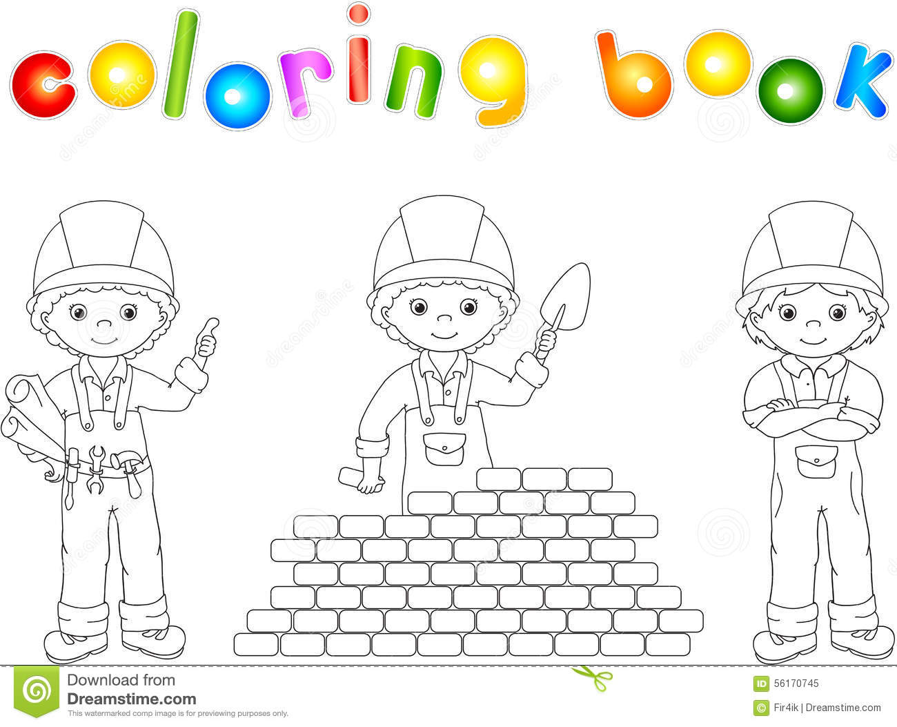 Construction Workers In Their Uniform. Coloring Book Stock Vector ...
