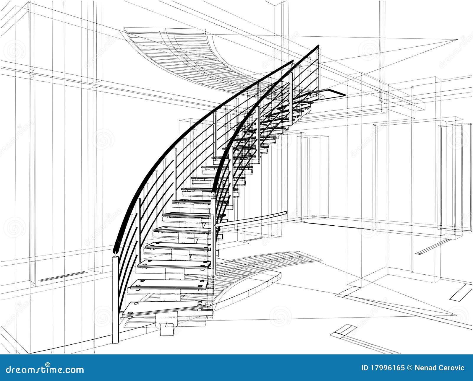 Constructions abstraites d escaliers spiralés de ligne