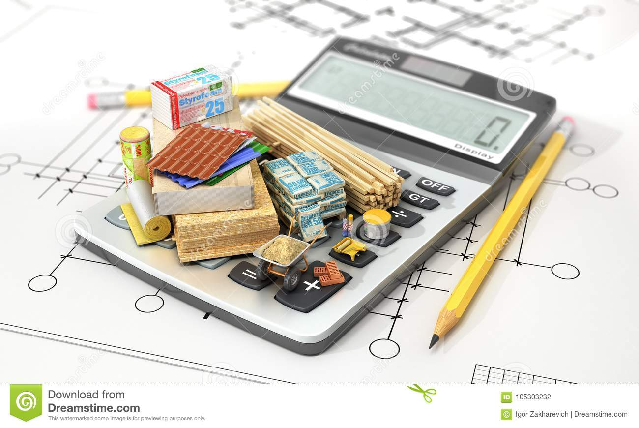 Constructions materials on calculator concept of calculation of constructions materials on calculator concept of calculation of costs of construction 3d illustration ccuart Gallery