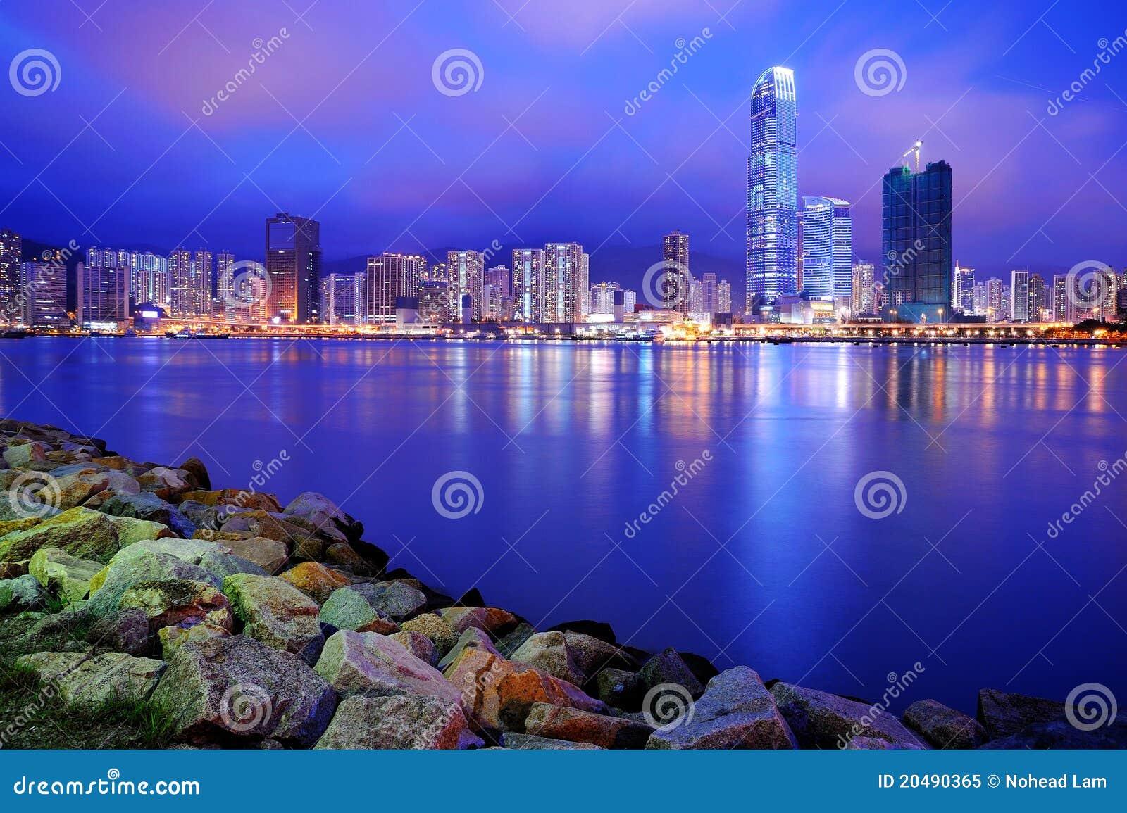 Constructions modernes au crépuscule, Hong Kong