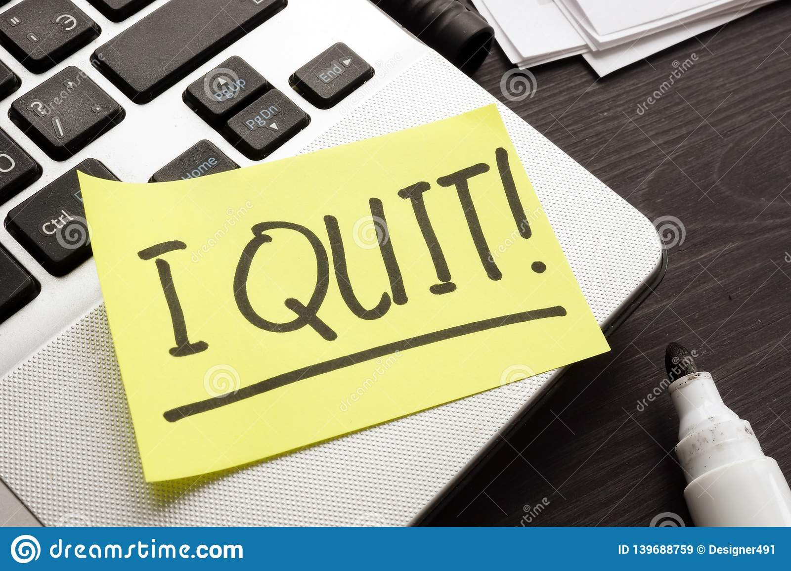 Constructive dismissal. Piece of paper with words I quit job