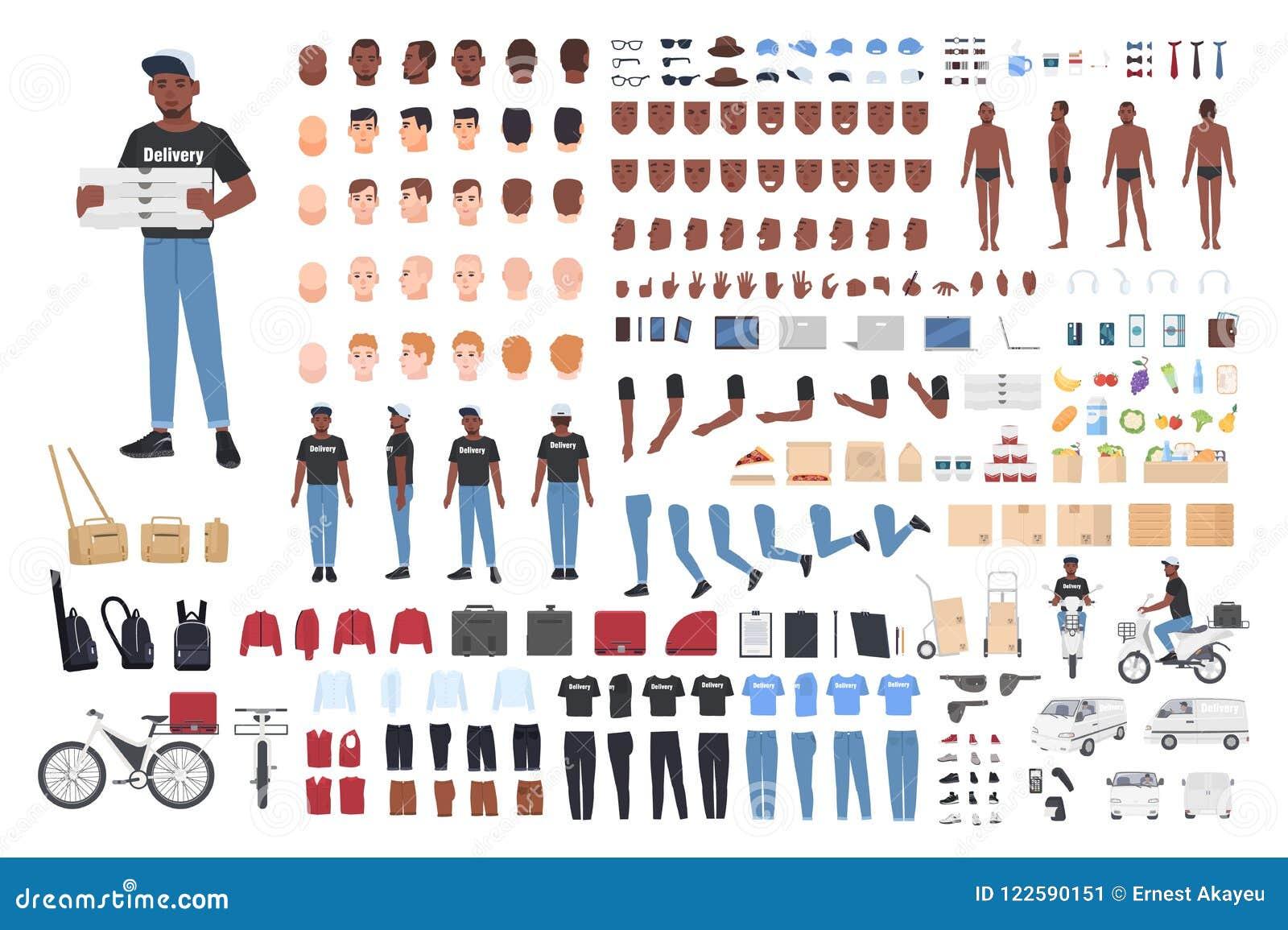 Constructor afroamericano del muchacho de entrega Colección de partes del cuerpo del carácter masculino en diversas posturas, uni
