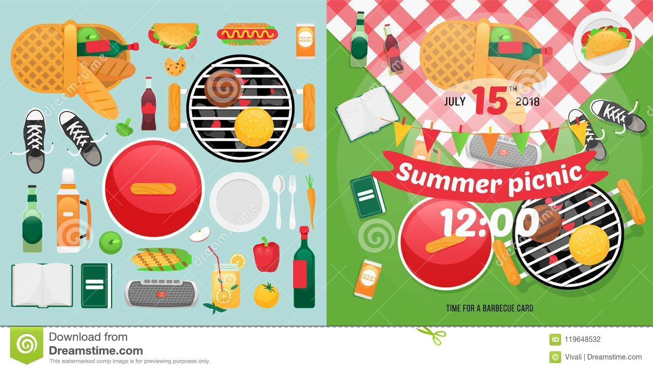 summer food and holiday objects for easy self made invitation card