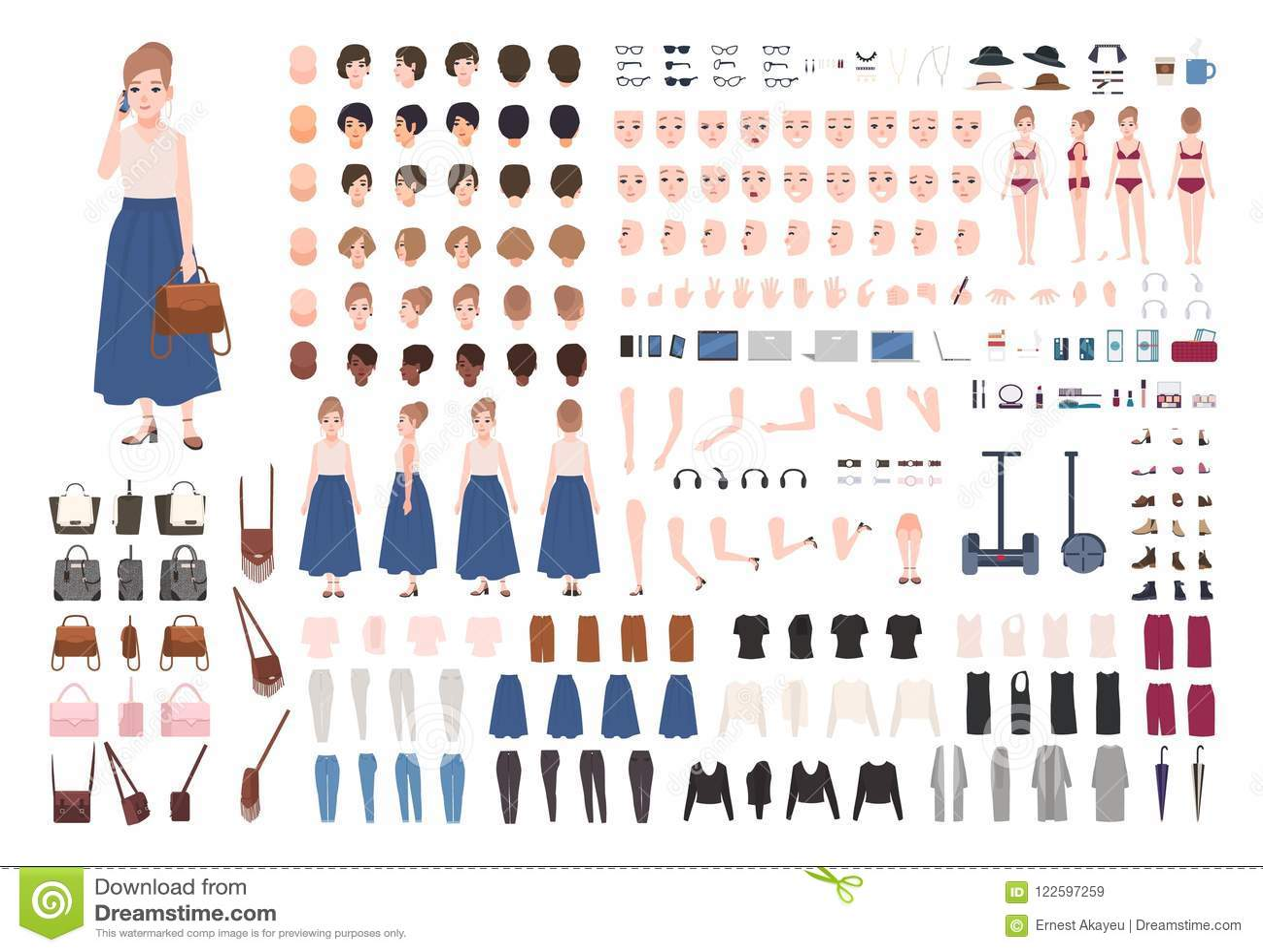 Constructrice de jeune femme ou kit moderne d animation Collection de parties du corps de personnage féminin, gestes, habillement