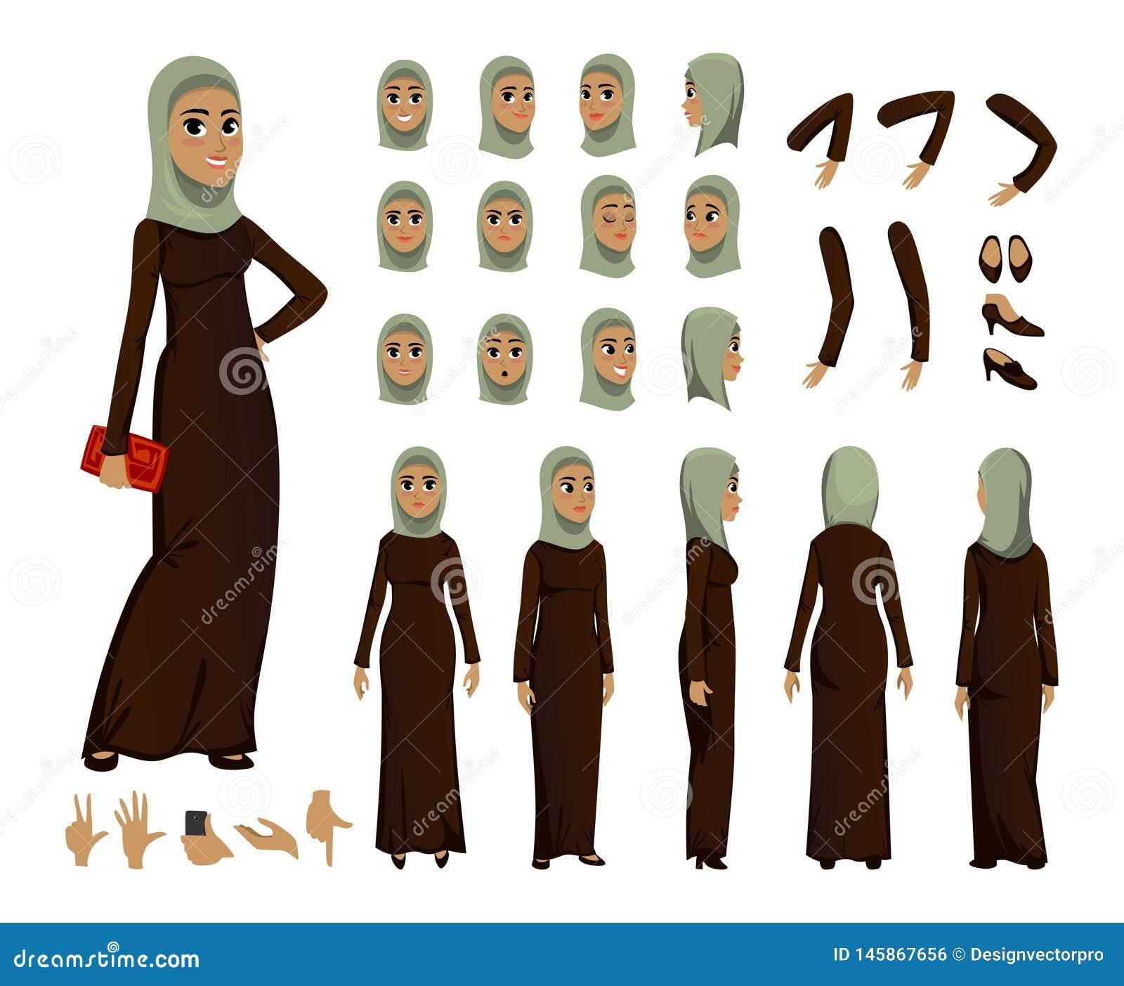 Construtor árabe do caráter da mulher ajustado no estilo liso Avatars ou ícones muçulmanos da menina com emoções diferentes e bra