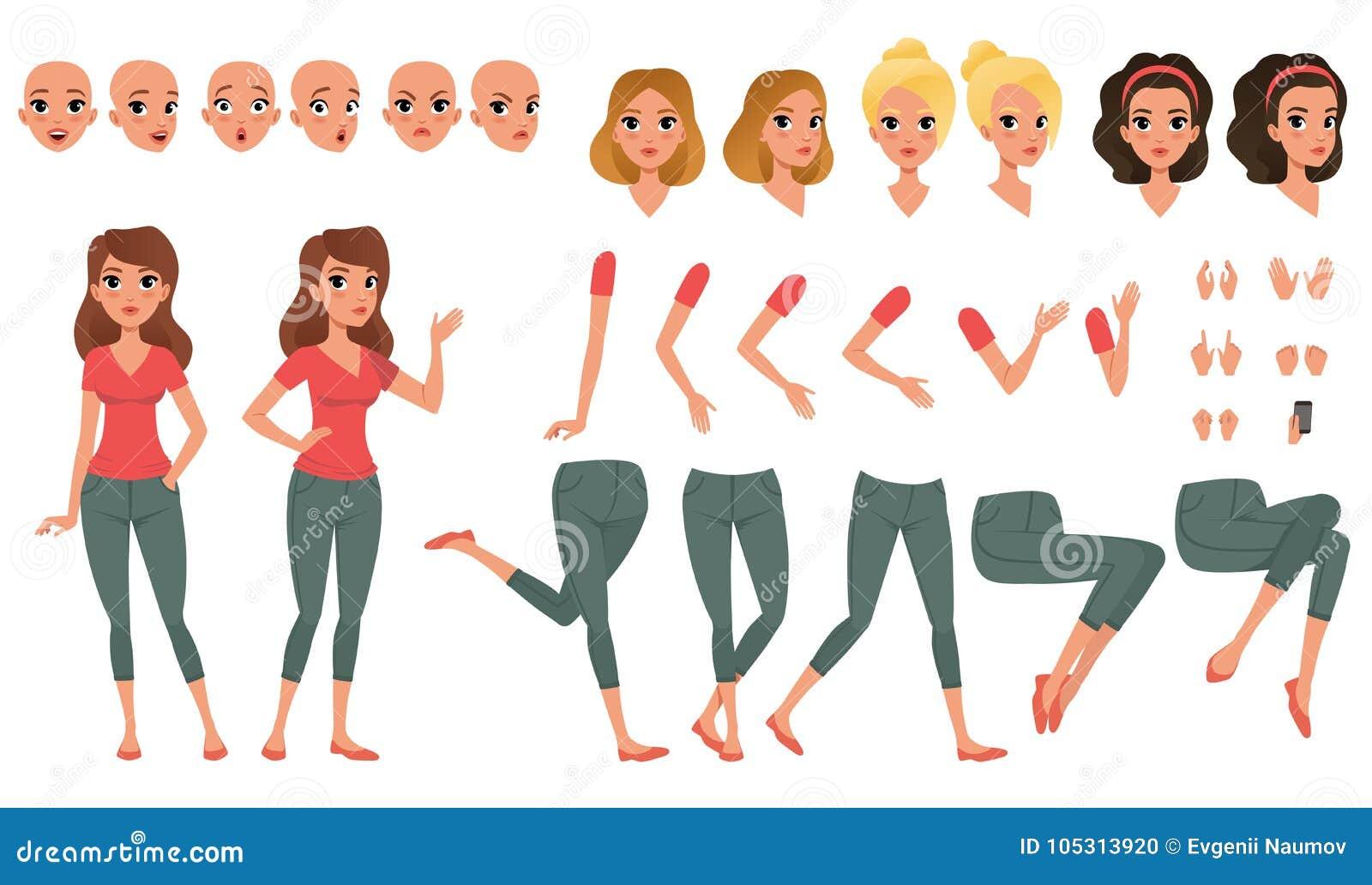 Construtor bonito da jovem mulher no estilo liso Peças dos pés e os braços do corpo, as emoções da cara, os cortes de cabelo e os