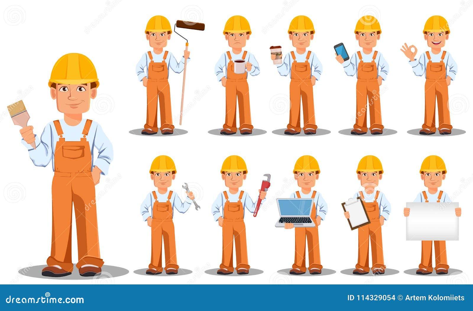 Construtor considerável no uniforme, personagem de banda desenhada, grupo