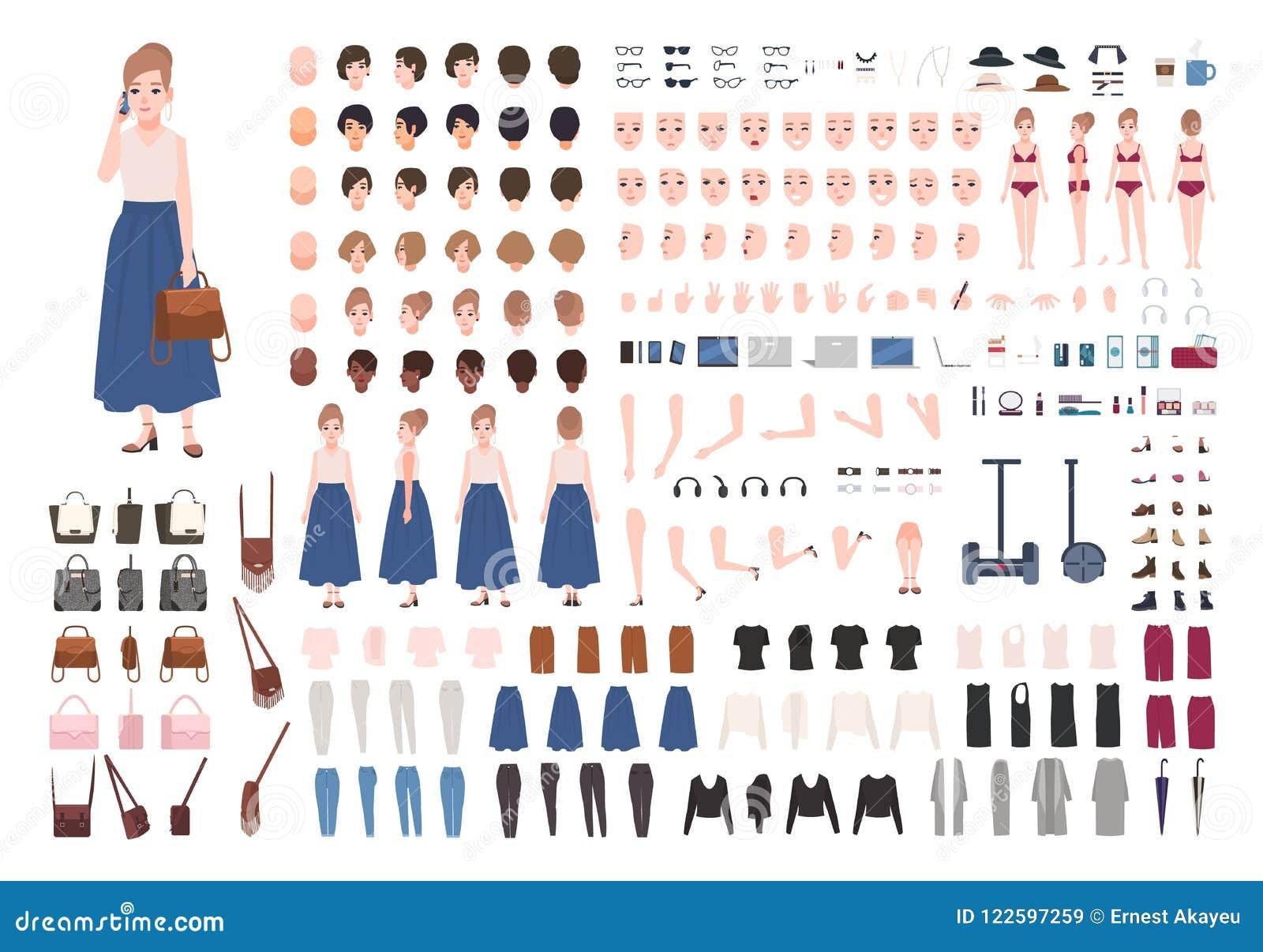 Construtor da jovem mulher ou jogo moderno da animação Coleção de partes do corpo do caráter fêmea, gestos, roupa à moda