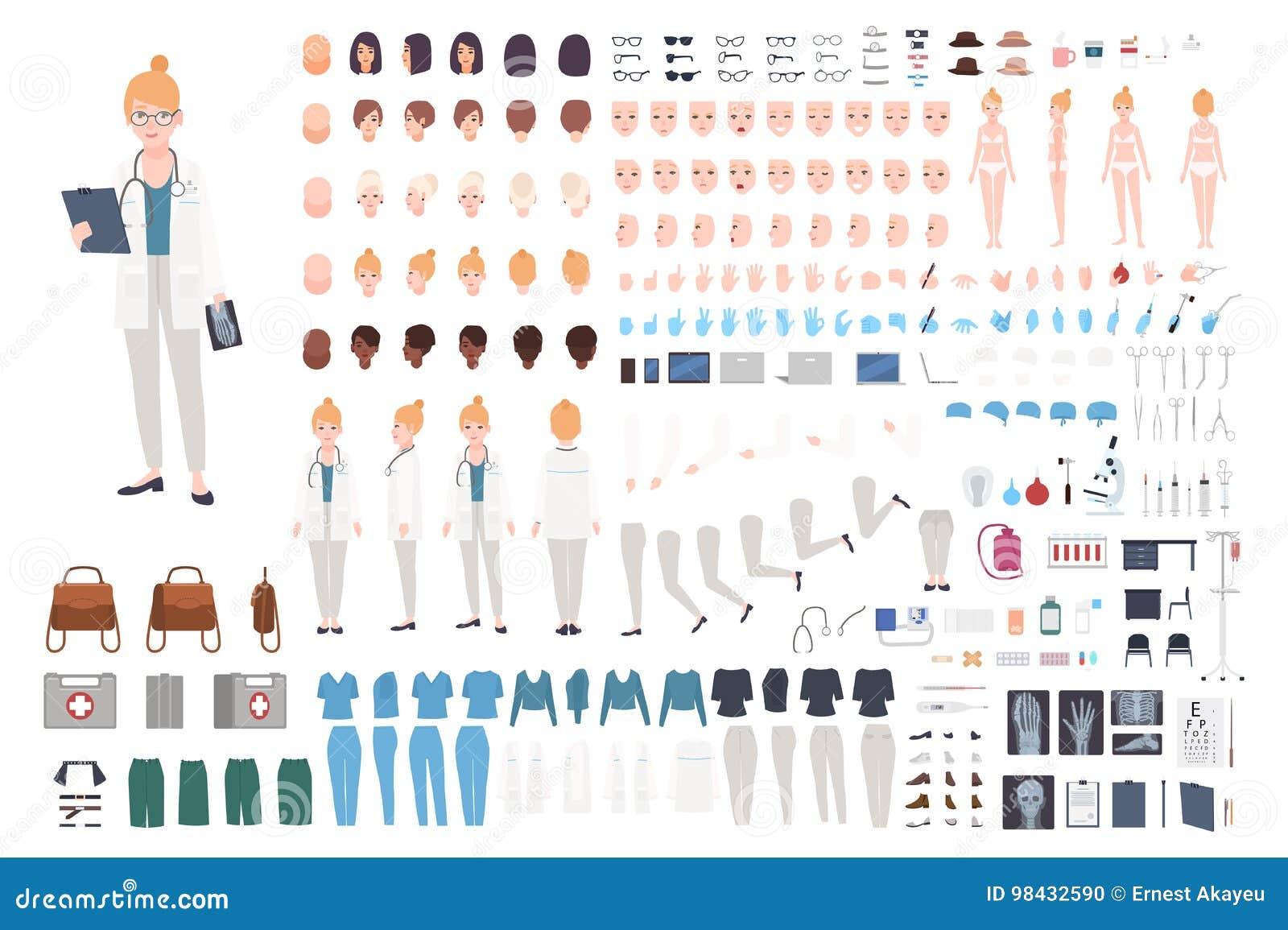 Construtor do caráter do doutor Grupo fêmea da criação do doutor Posturas diferentes, penteado, cara, pés, mãos, acessórios