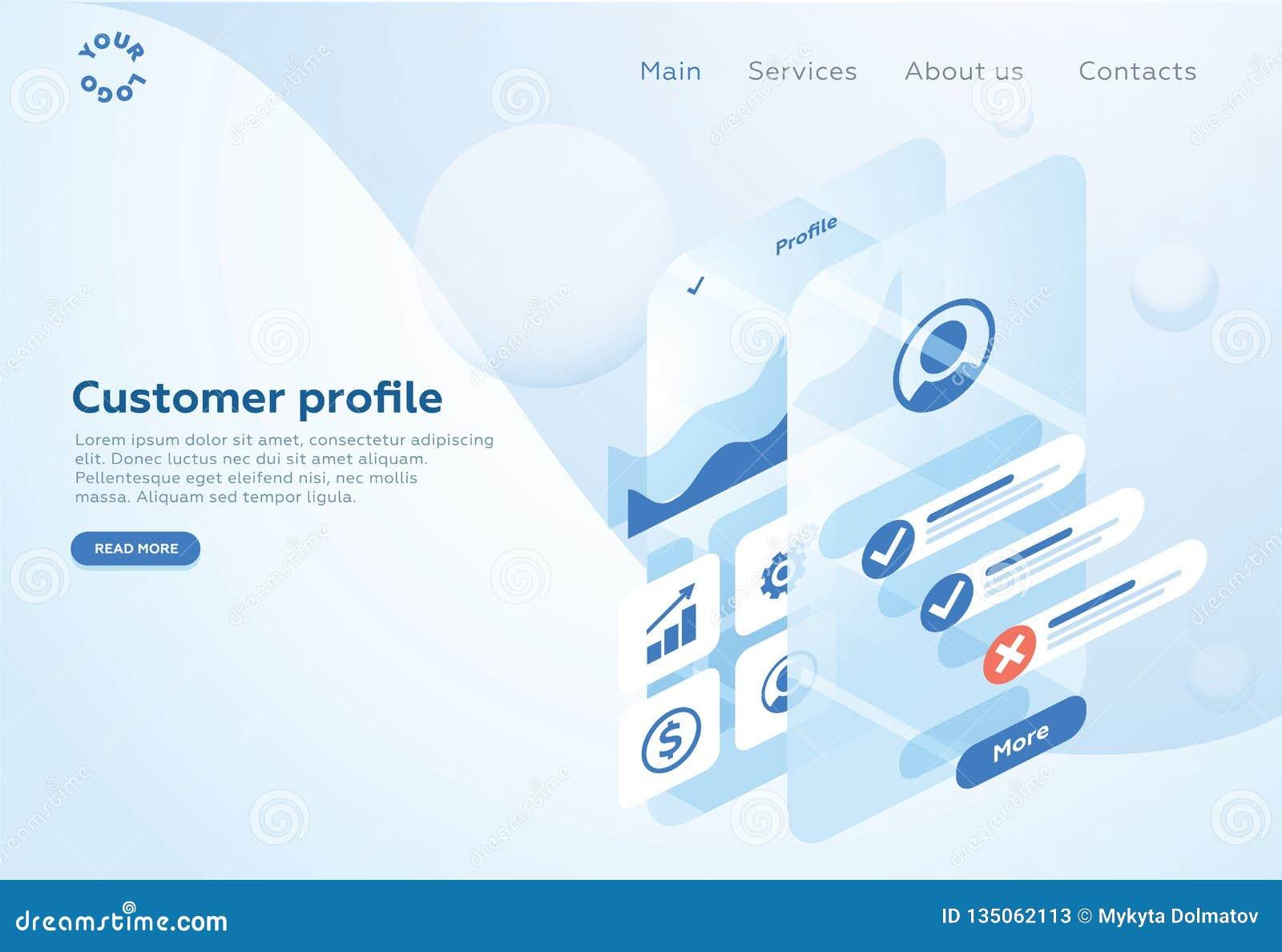 Construya un perfil de cliente en una aplicación móvil Situaciones del análisis y de la oficina de datos Ejemplo isométrico del v
