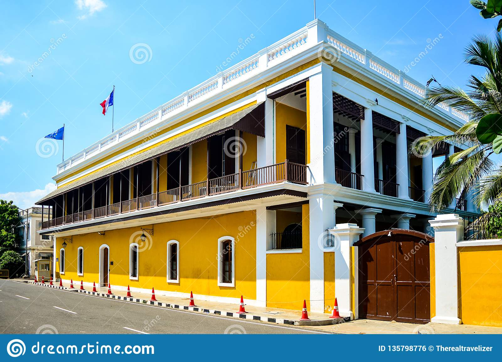 French Consulate Building In Puducherry, India Stock Photo - Image