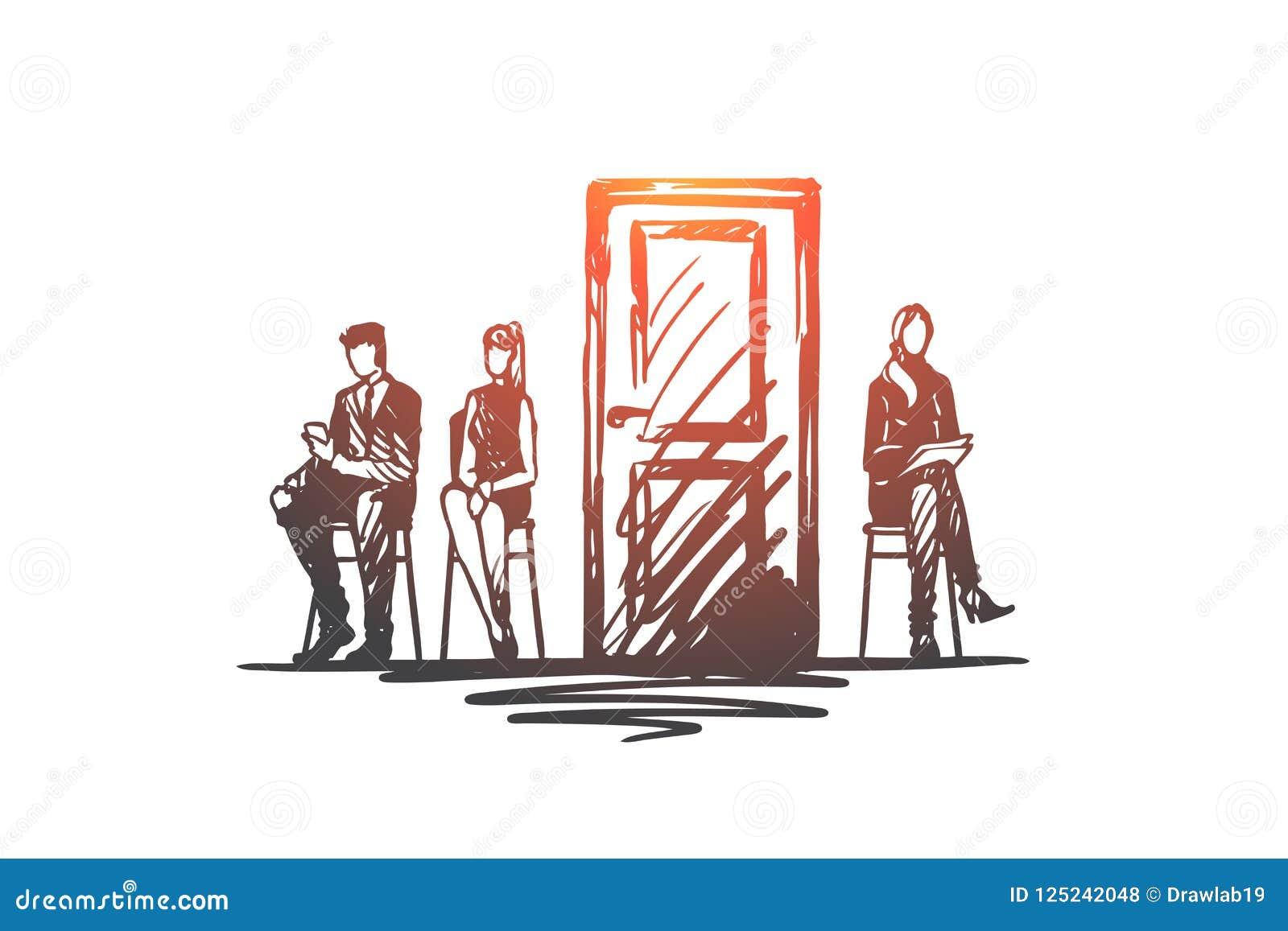 Consulta, prueba, candidato, concepto de reclutamiento Vector aislado dibujado mano
