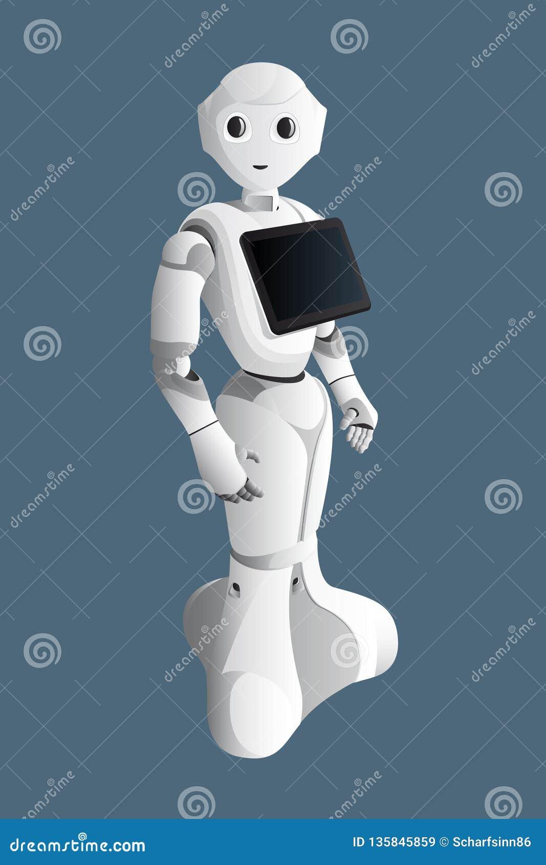 Consultante realístico do robô com tabuleta digital