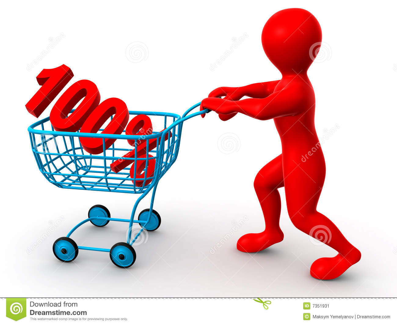 Consumer basket with 100 percent stock image image 7351931