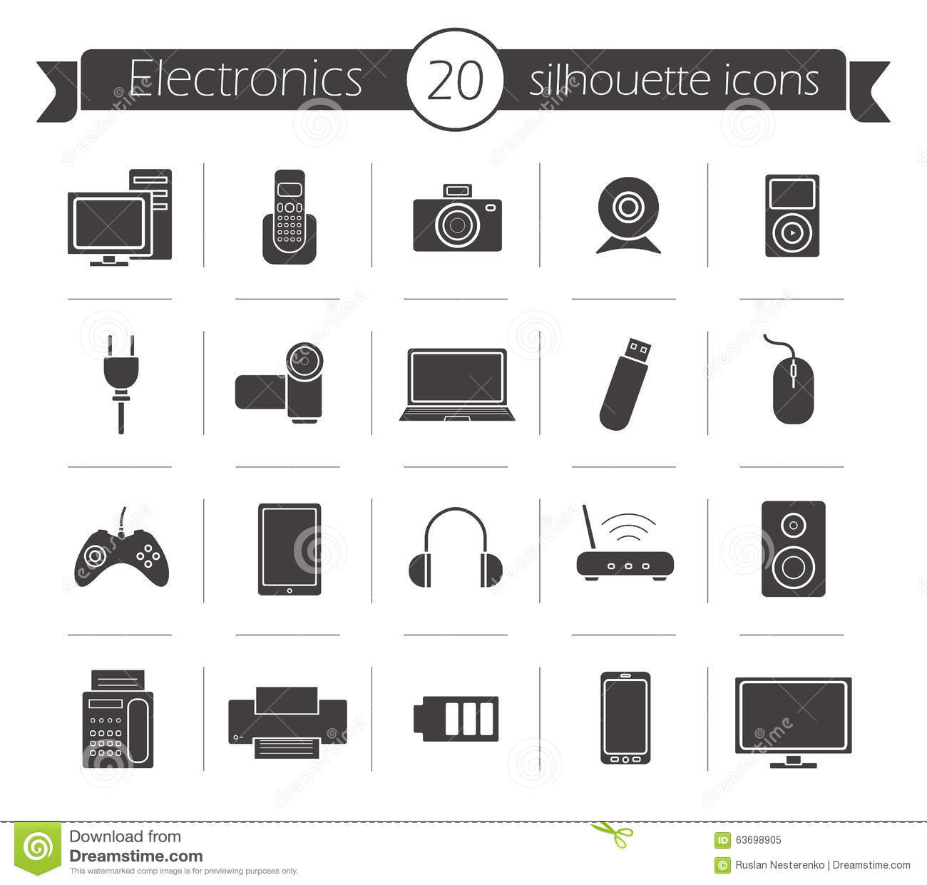 Consumer Electronics Black Silhouette Icons Set Stock