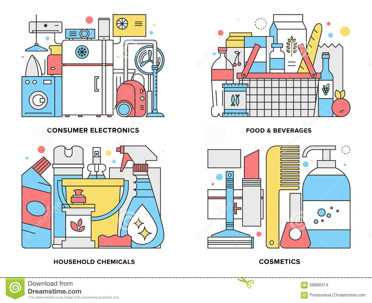 Consumer products flat line illustration