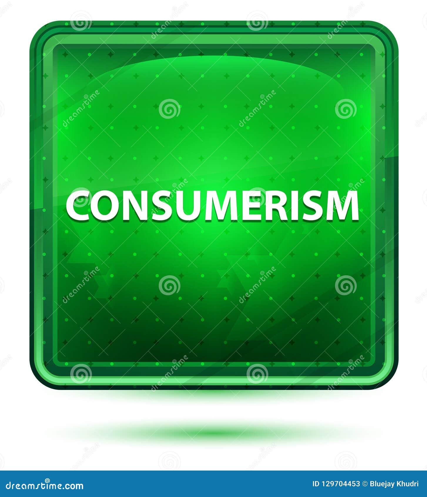 Consumerism Neon Light Green Square Button
