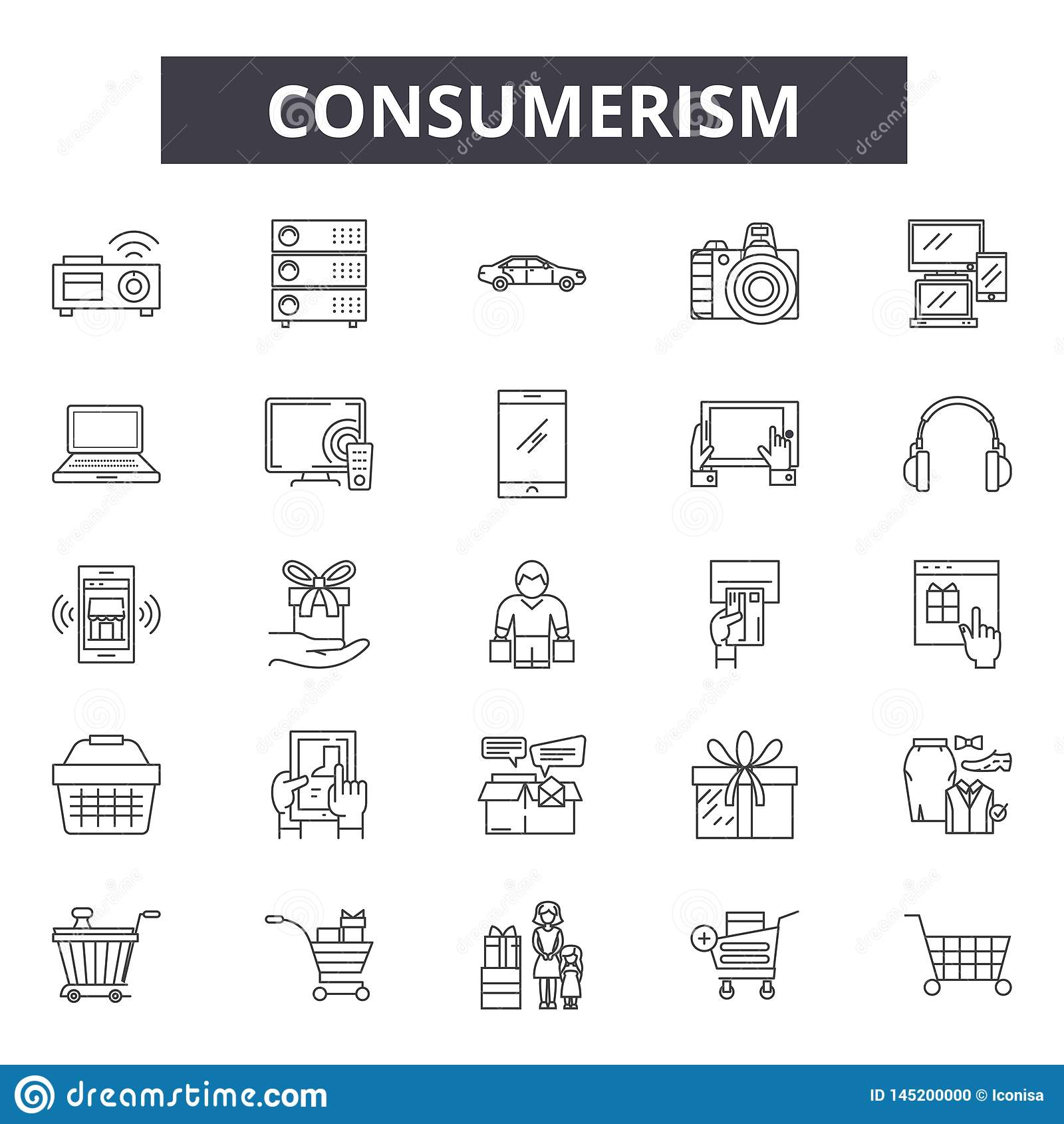 Consumerism line icons, signs, vector set, outline illustration concept