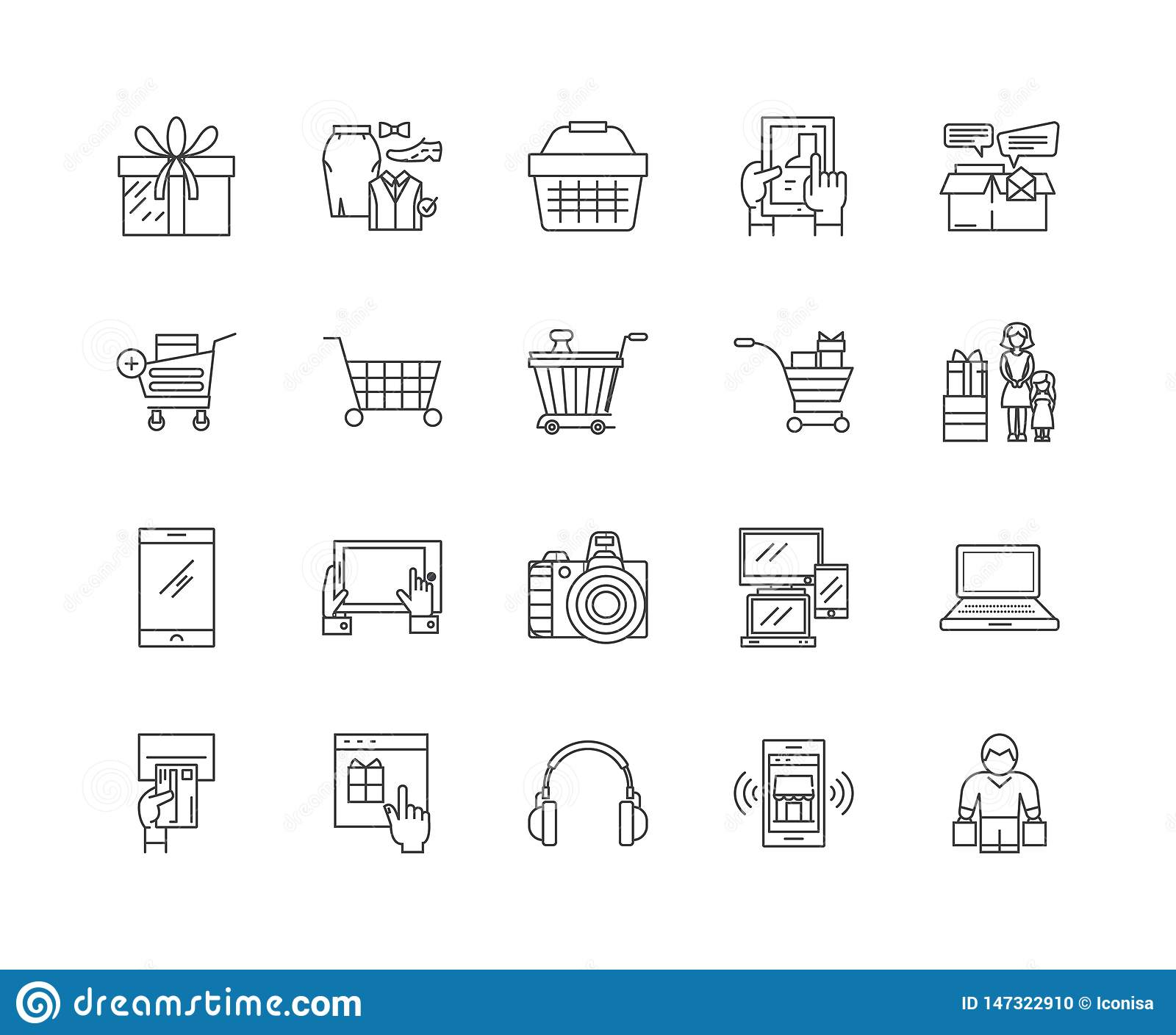 Consumerism line icons, signs, vector set, outline illustration concept