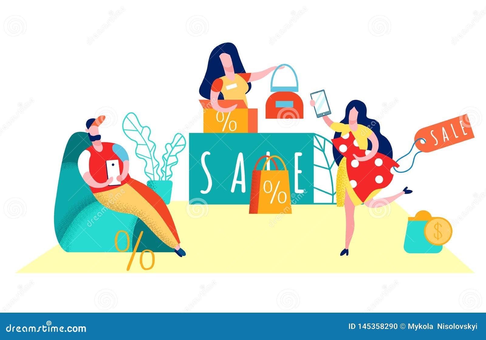 Consumerism, Shopaholism Flat Vector Illustration
