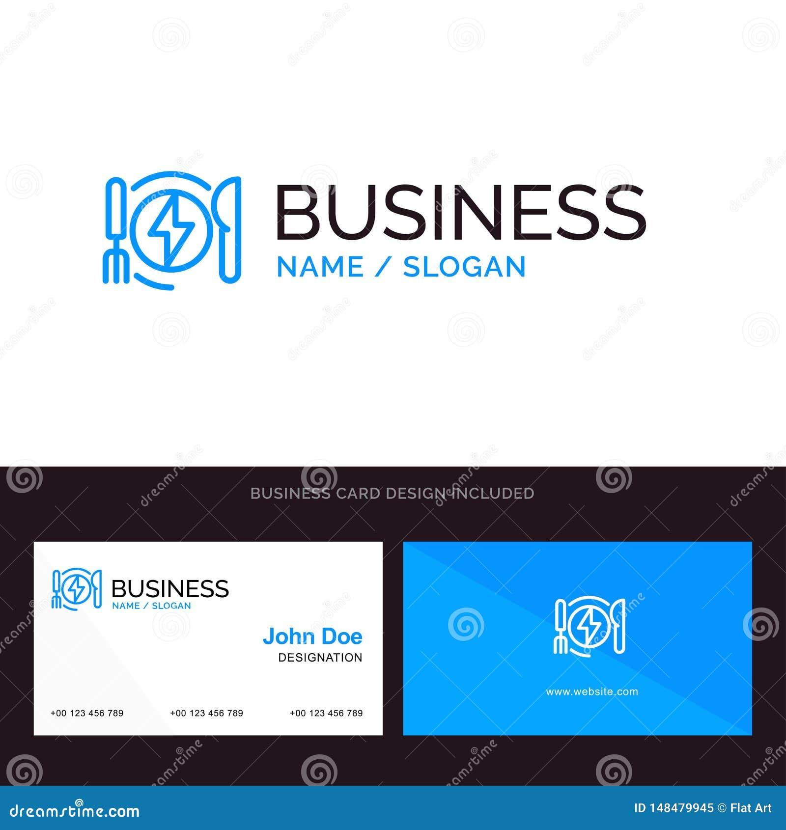 Consumo, energía, cena, logotipo del negocio del hotel y plantilla azules de la tarjeta de visita Dise?o del frente y de la parte