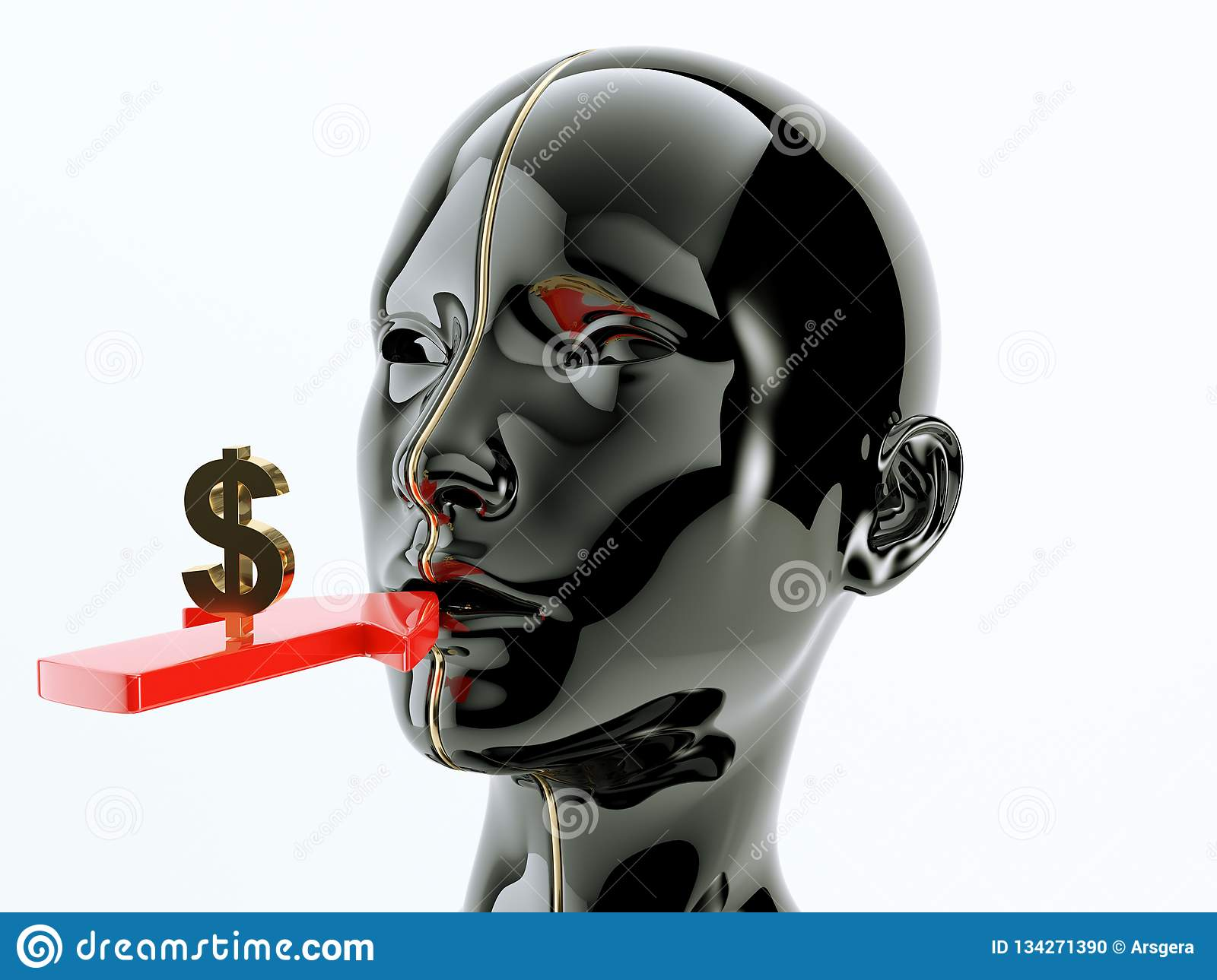 Consumption or consumerism arrow and dollar sign near the mouth
