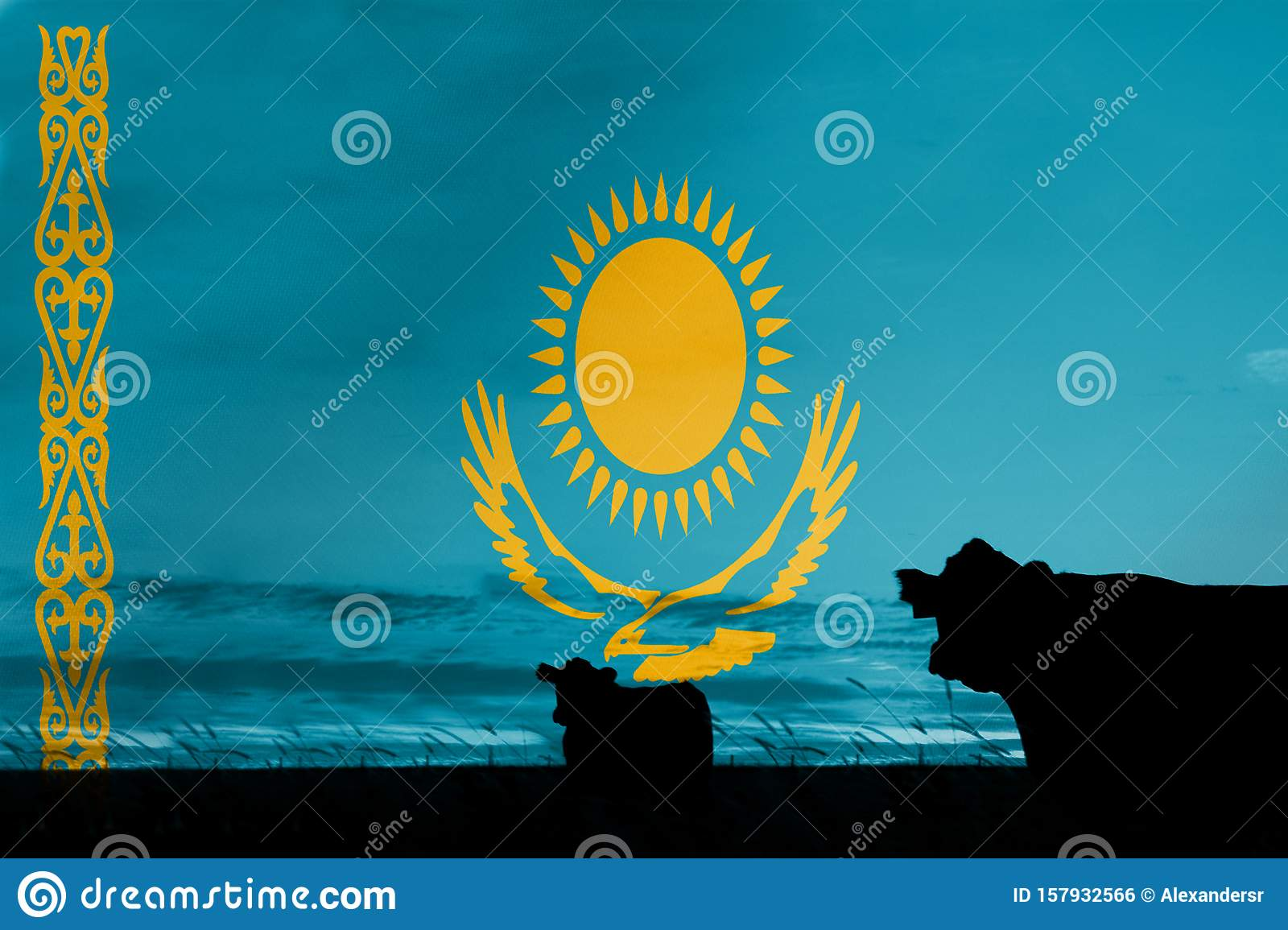 Consumption and production of cattle in countries with the flag of Kazakhstan