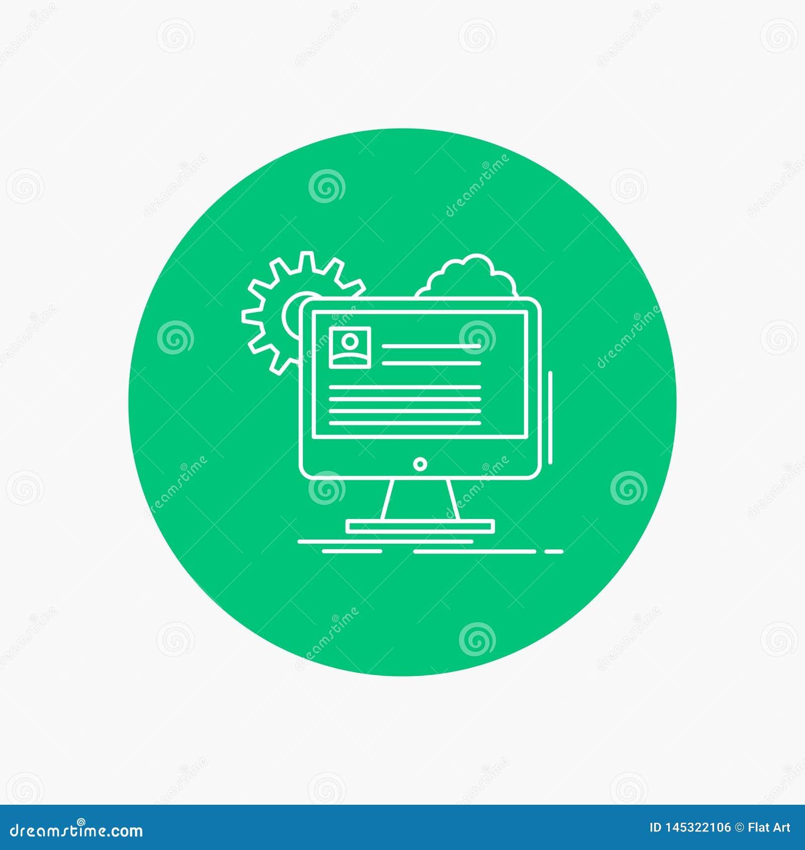 A conta, perfil, relatório, edita, atualiza a linha branca ícone no fundo do círculo Ilustra??o do ?cone do vetor