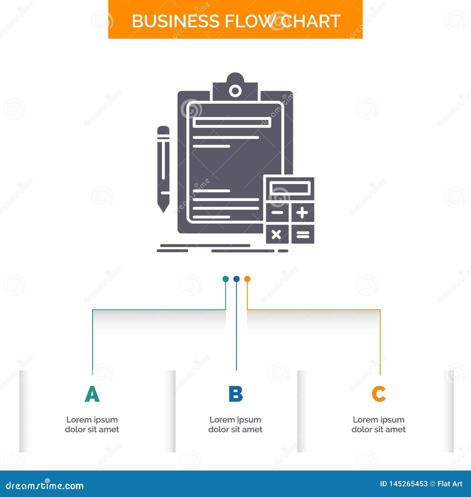 Contabilidade, operação bancária, calculadora, finança, projeto do fluxograma do negócio da auditoria com 3 etapas ?cone do Glyph