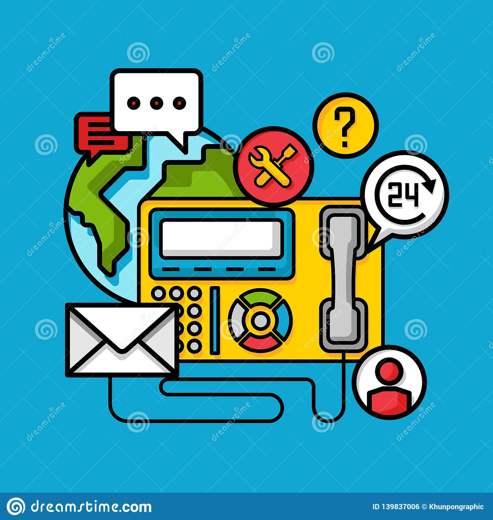 Contact Customer Service Support Concept, Online Business ...