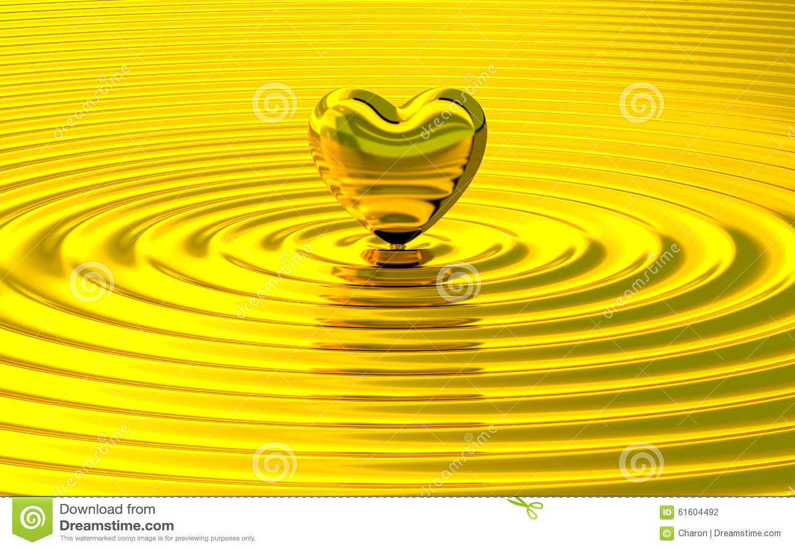 Contact d or de coeur faisant des ondulations