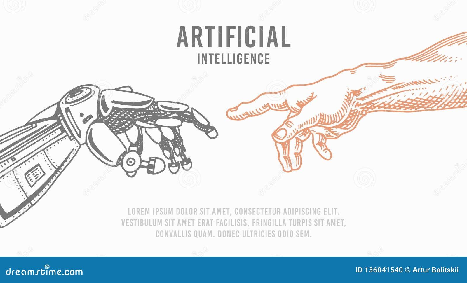 Contact de main Android et humain Bannière d intelligence artificielle Affiche bionique de bras Future technologie Vintage gravé