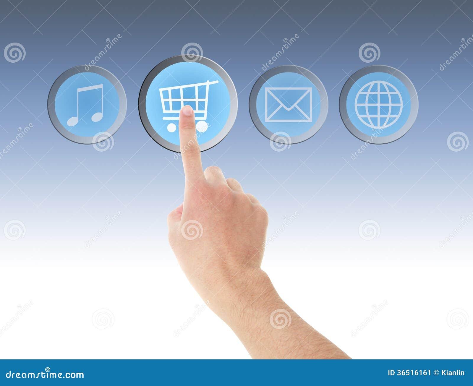 Contact de main sur l icône d achats