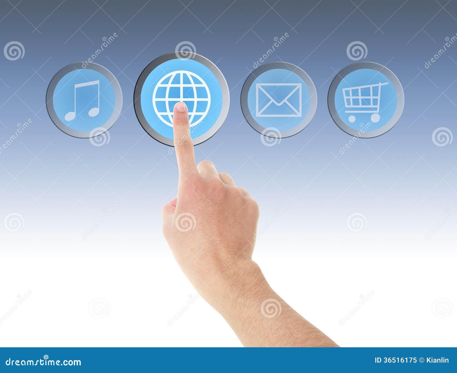Contact de main sur l icône d Internet